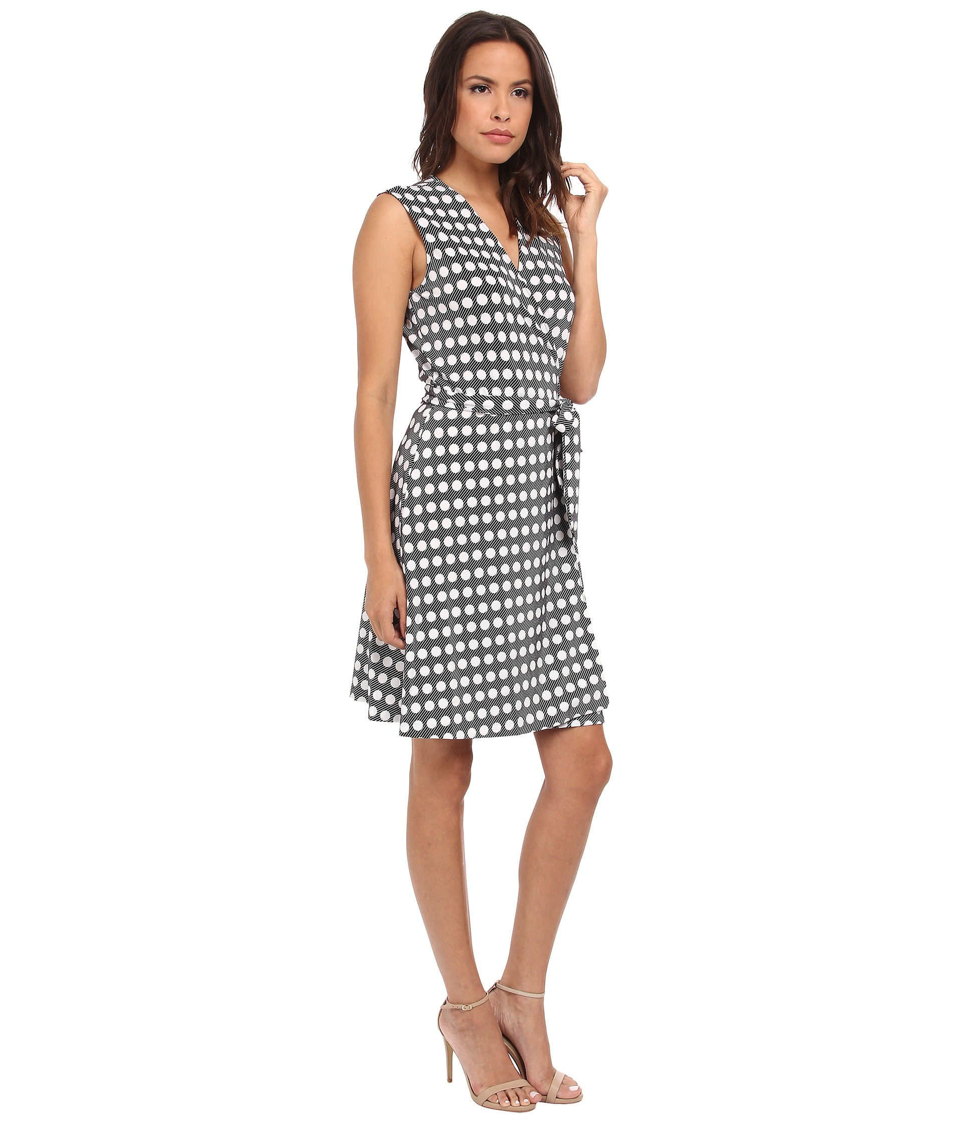 Vince Camuto Swinging Dots Belted Wrap Dress In White Lyst