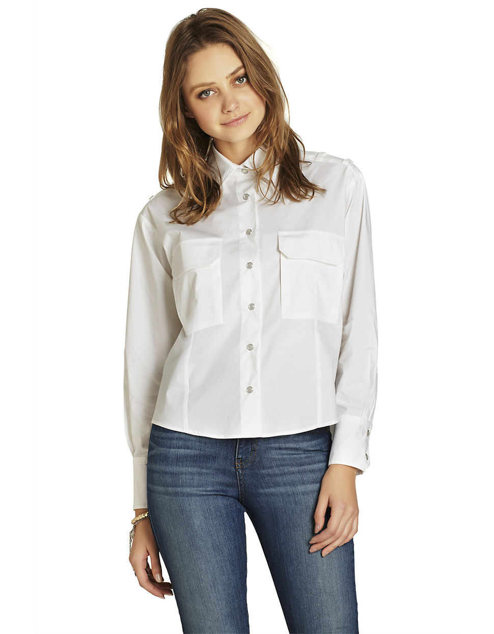 8d90a4cf BCBGeneration Boxy Button-Up Top in White - Lyst