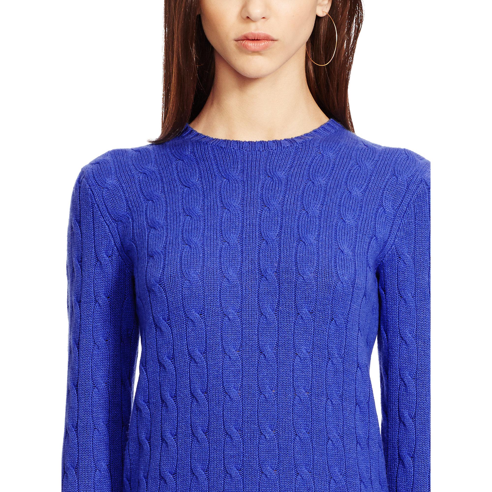 polo ralph lauren slim fit cabled cashmere in blue deep. Black Bedroom Furniture Sets. Home Design Ideas