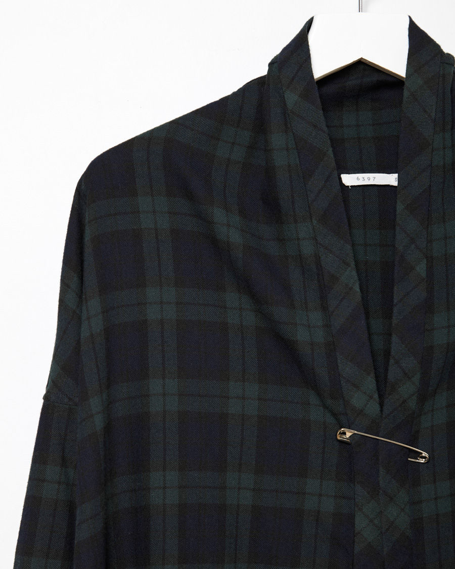 6397 flannel shirt cardigan in black lyst for Black watch flannel shirt