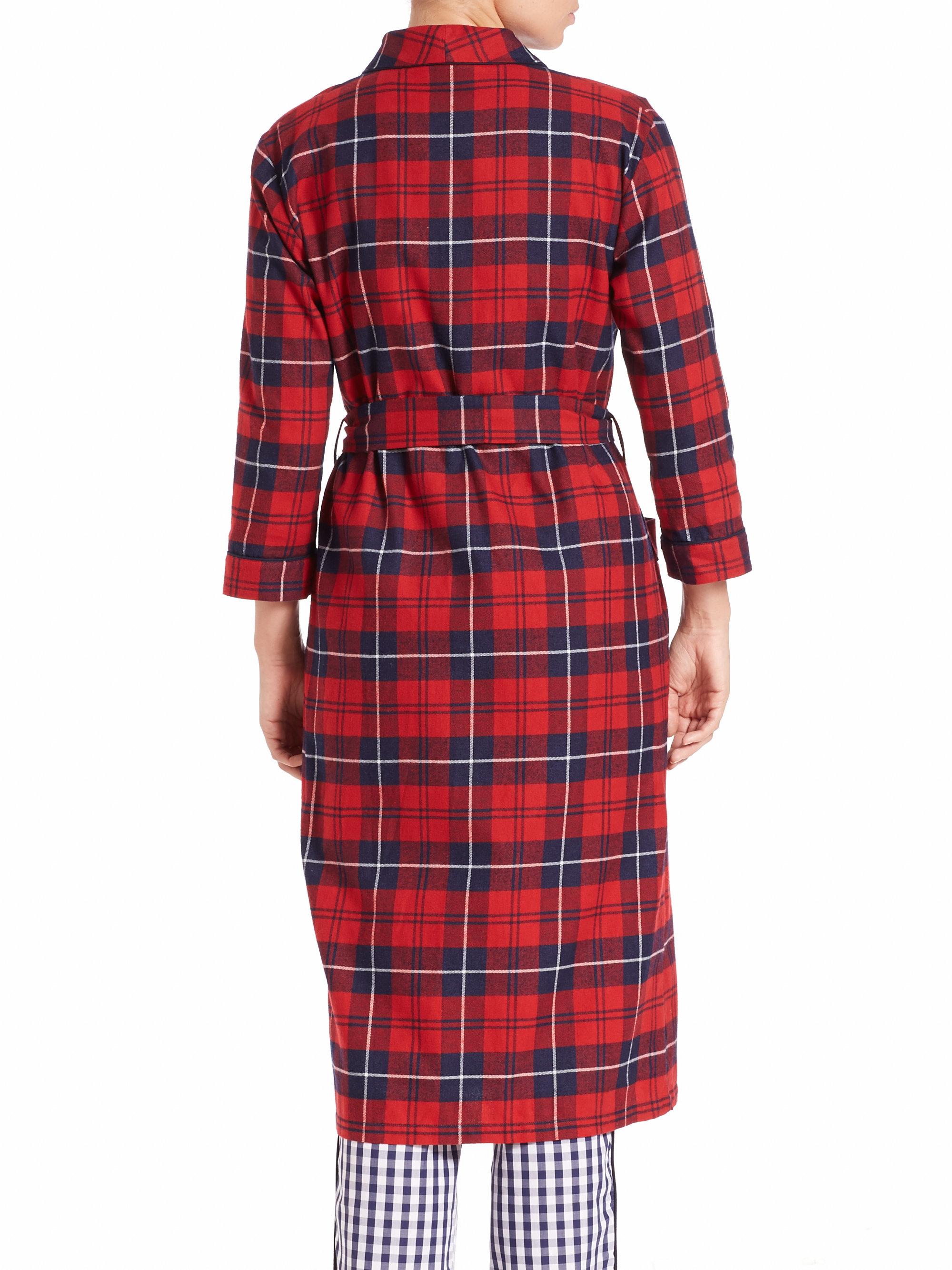 Sleepy Jones Marianne Long Plaid Flannel Robe In Red Lyst