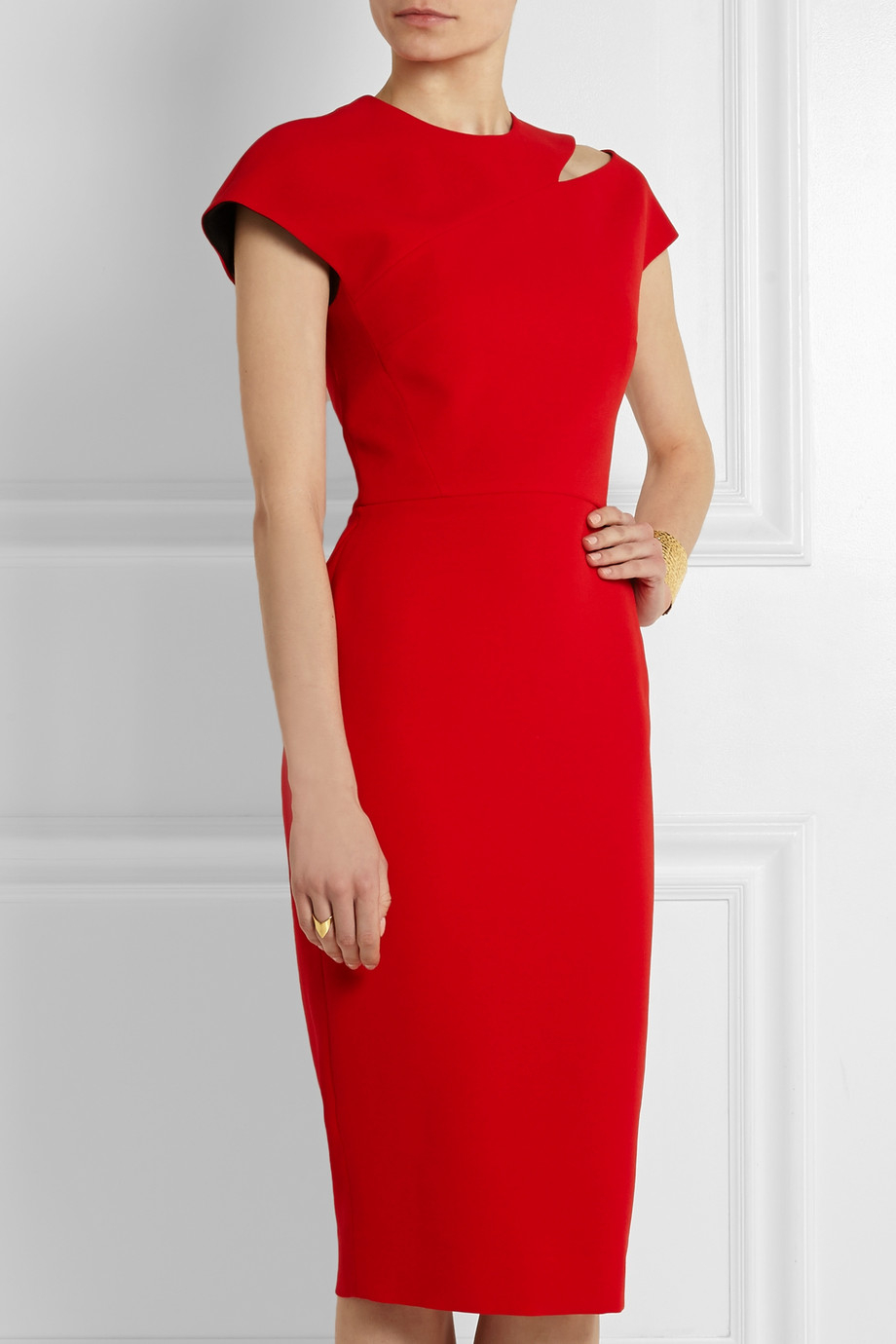 Victoria Beckham Cutout Silk And Wool Blend Crepe Dress In