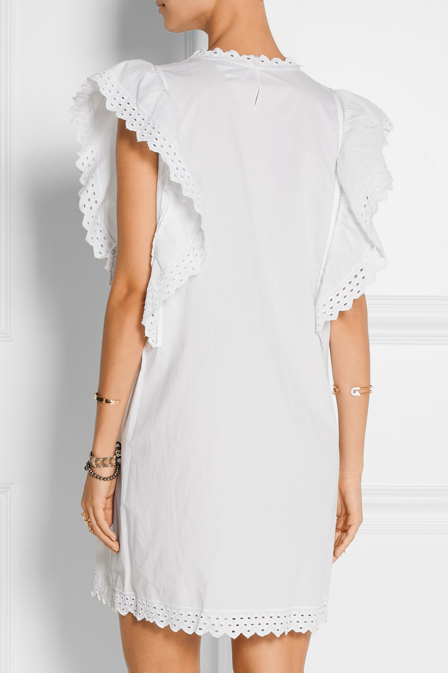 201 Toile Isabel Marant Scarla Eyelet Cotton Mini Dress In