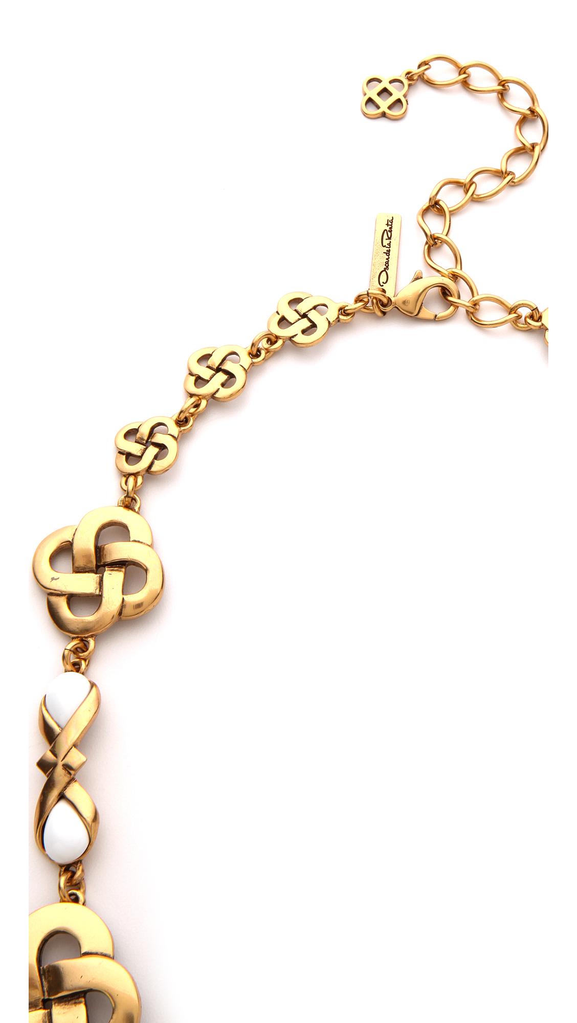 Oscar de la Renta Mosaico Necklace in Black White (Metallic)