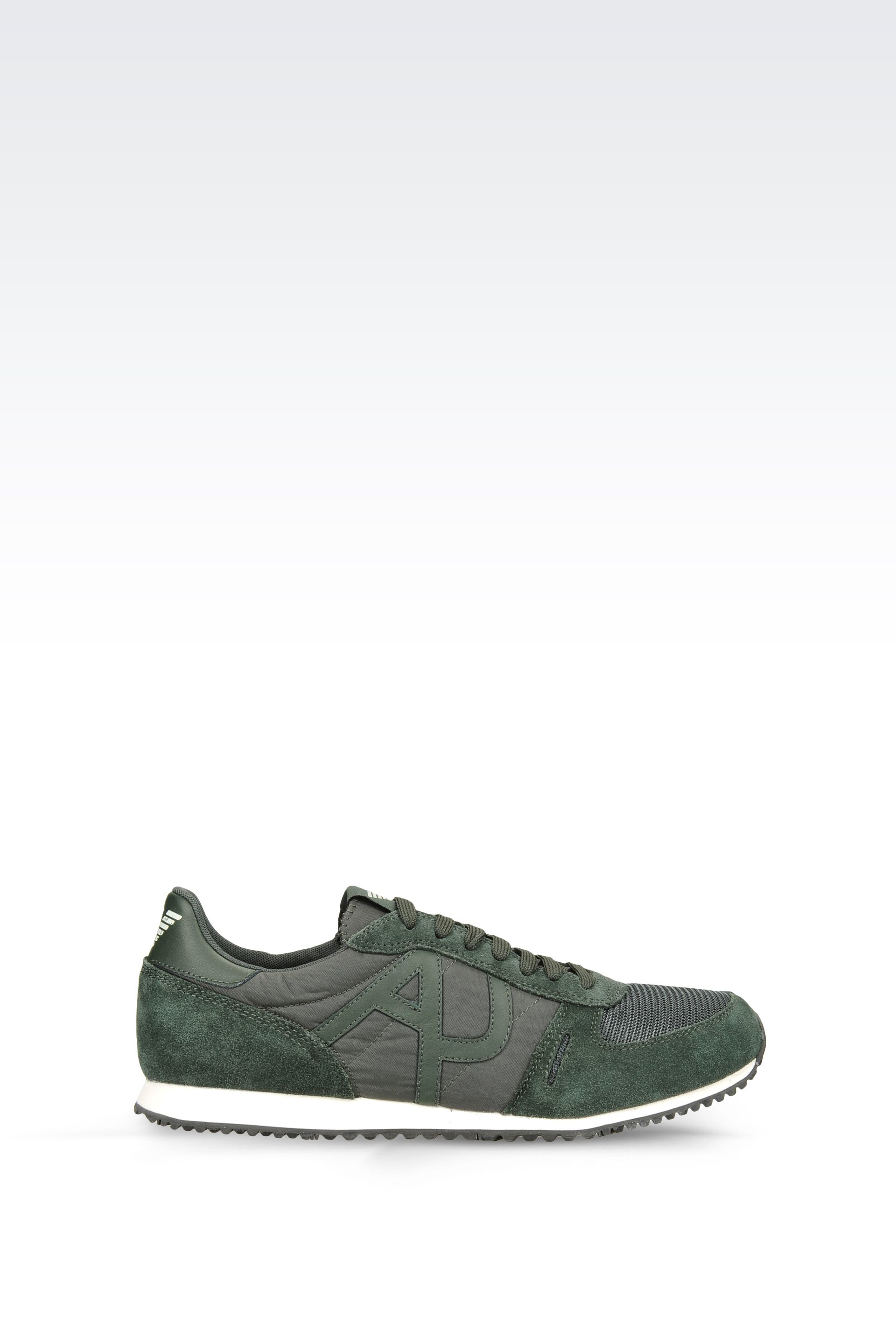 armani jeans sneaker in leather and technical fabric with logo in green for men dark green lyst. Black Bedroom Furniture Sets. Home Design Ideas