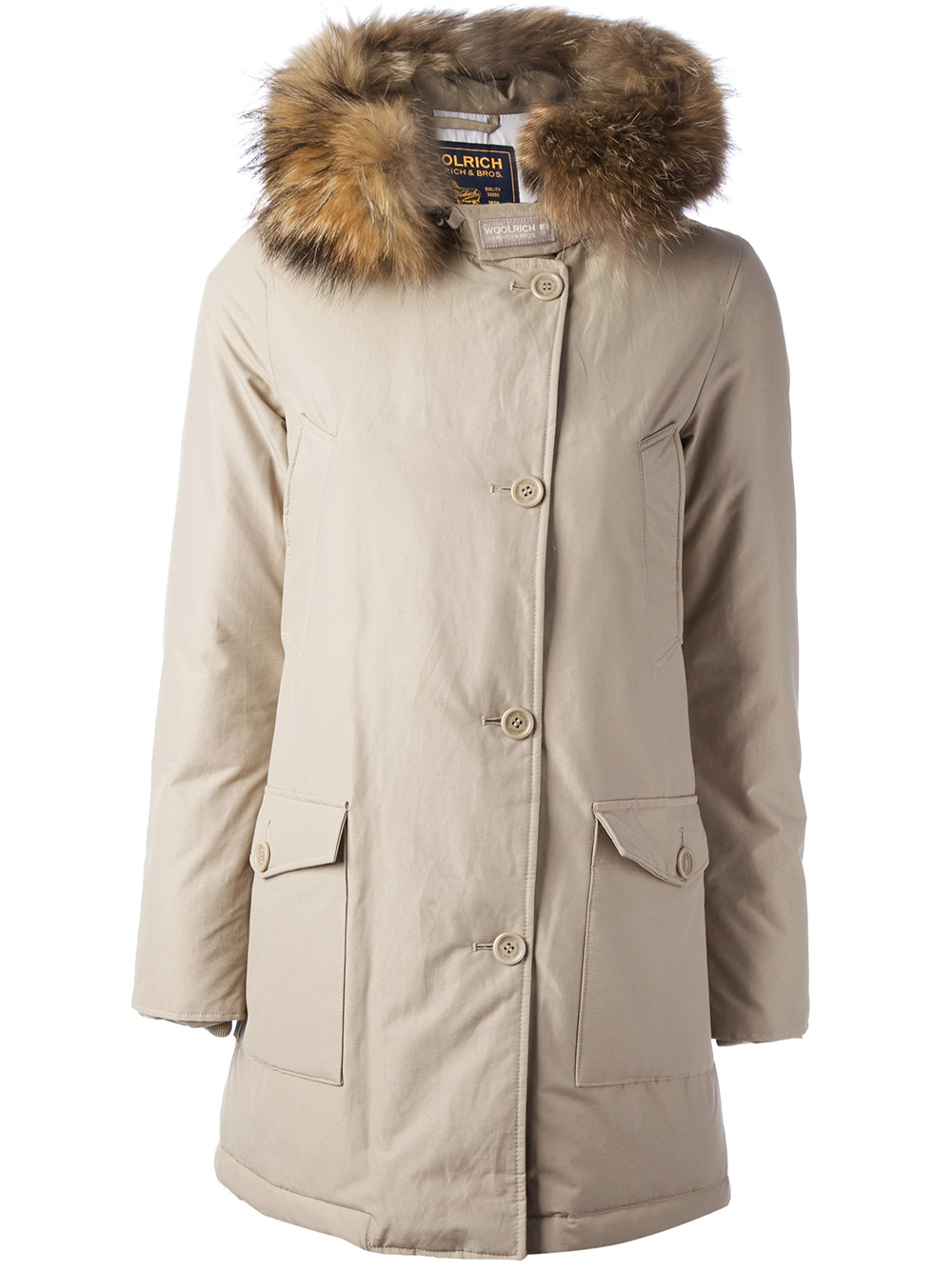 size 40 d5fbe 2602e Woolrich Natural 'Arctic' Padded Overcoat