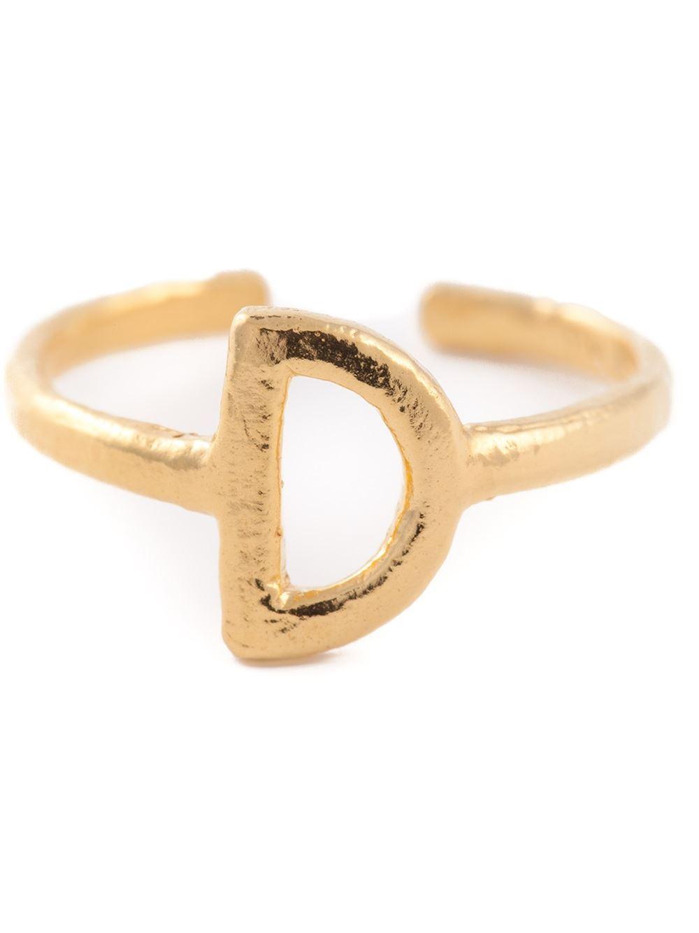 bjorg d alphabet ring in metallic lyst