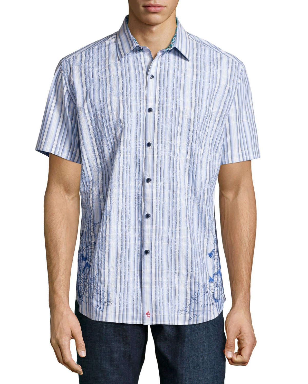 Robert graham koloa embroidered short sleeve shirt in blue for Robert graham tall shirts