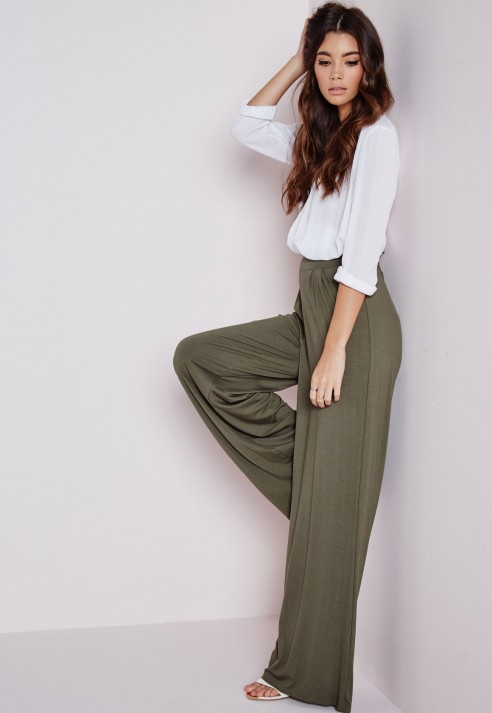 Wide Leg Paperbag Trousers - Green Missguided 0gcoES1qH