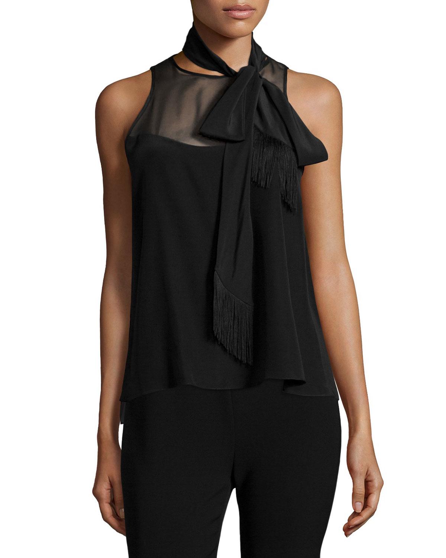 elizabeth and carla sleeveless tie neck top in black