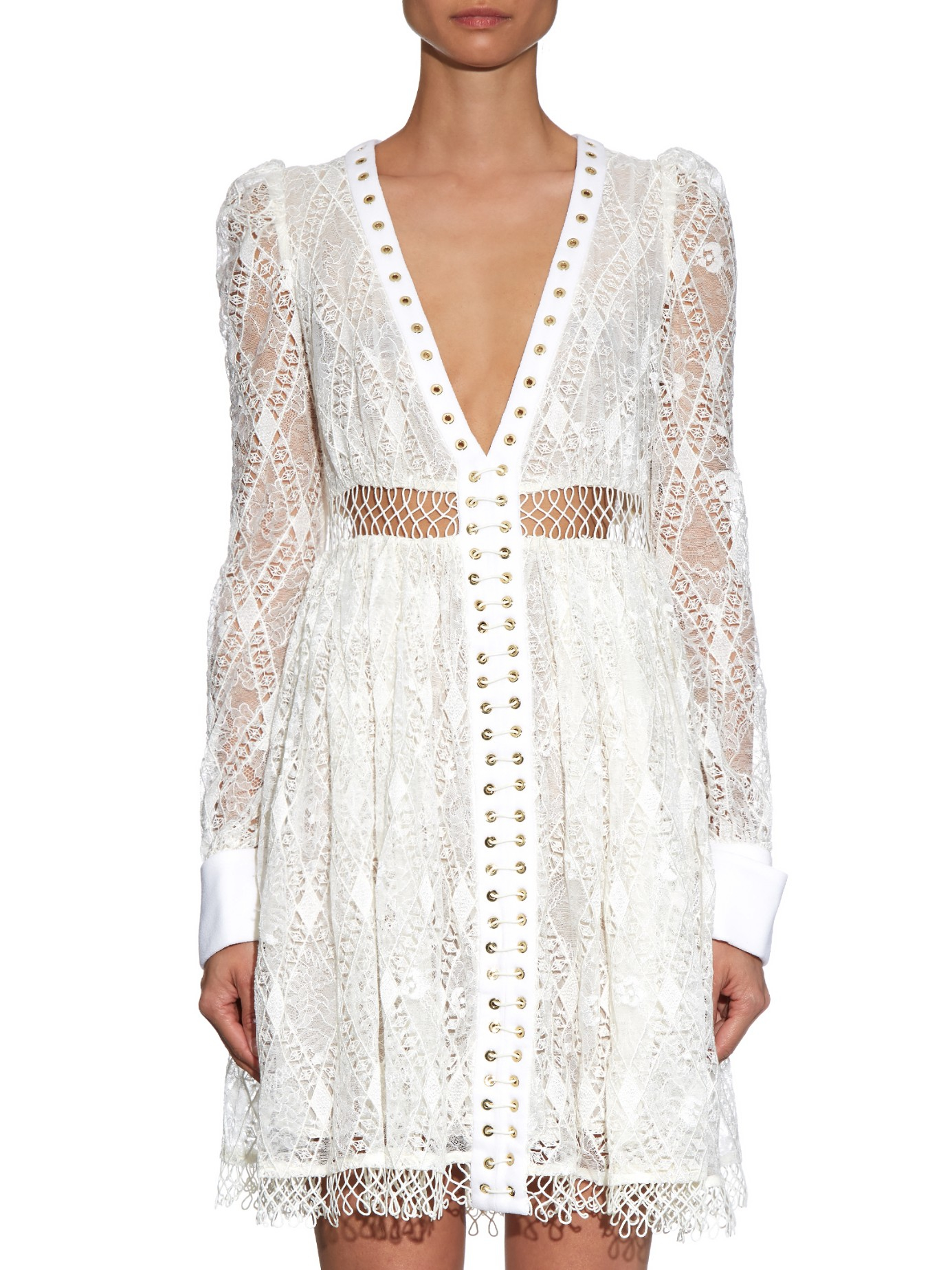 macrame dresses lyst zimmermann esplanade empire macram 233 lace dress in white 9914