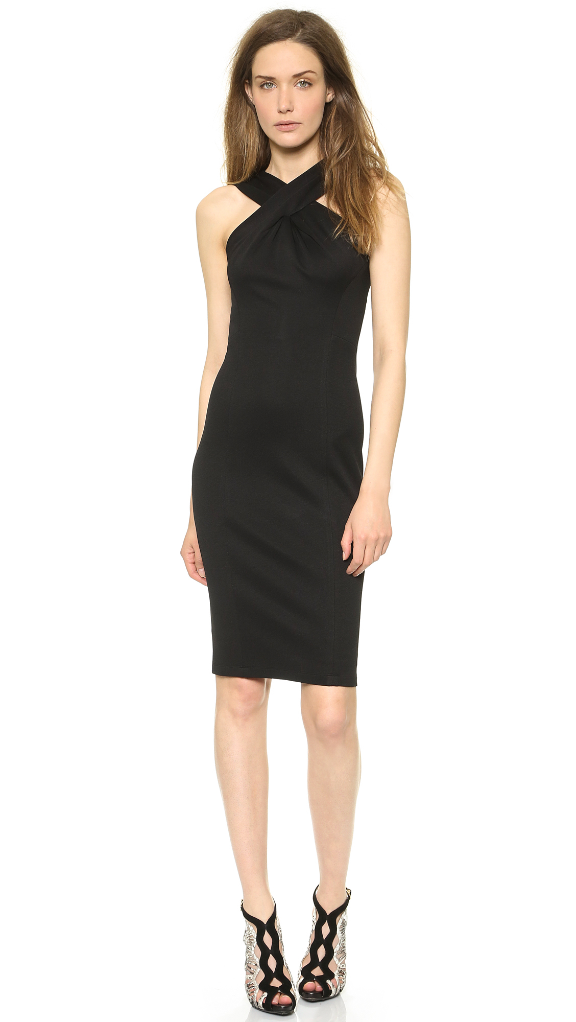 Donna karan new york cross drape sheath dress black in for Donna karen new york