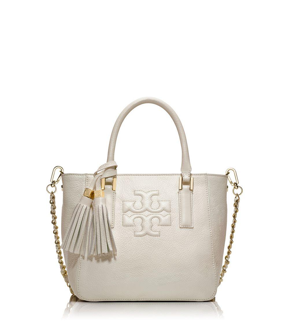 bf9f7c1f23cc Lyst - Tory Burch Thea Mini Bucket Bag in Natural