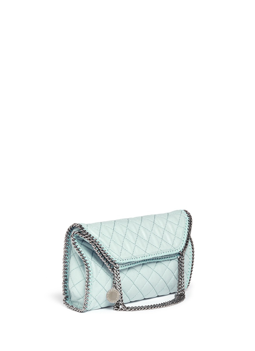 Stella McCartney 'Falabella' Small Quilted Chain Tote in Blue