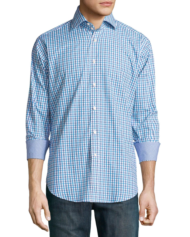 neiman sleeve plaid woven sport shirt in blue