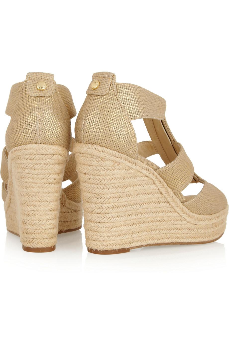 b6d742cec70 MICHAEL Michael Kors Damita Metallic Canvas Wedge Sandals