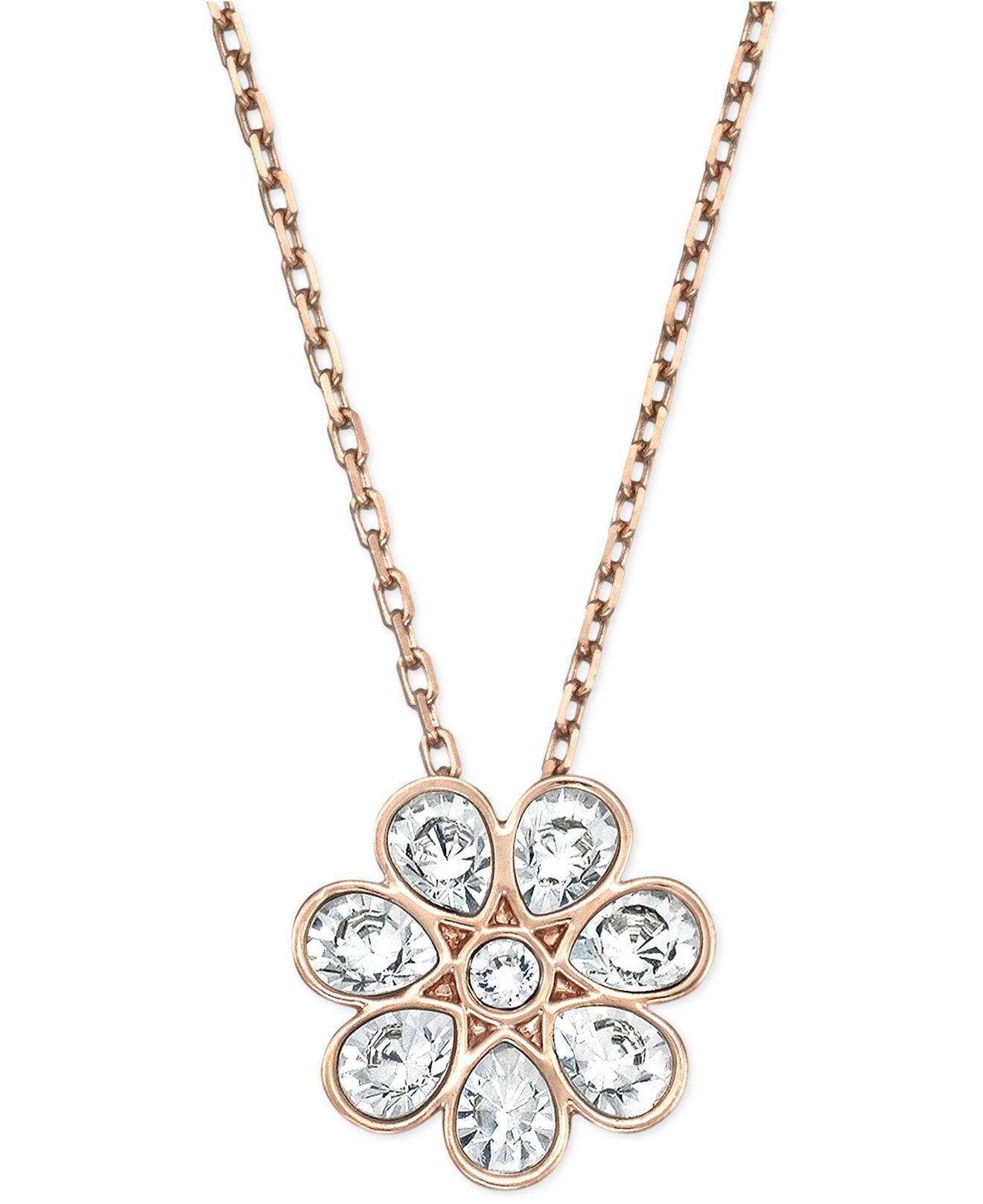 Swarovski Rose Gold Tone Crystal Flower Pendant Necklace