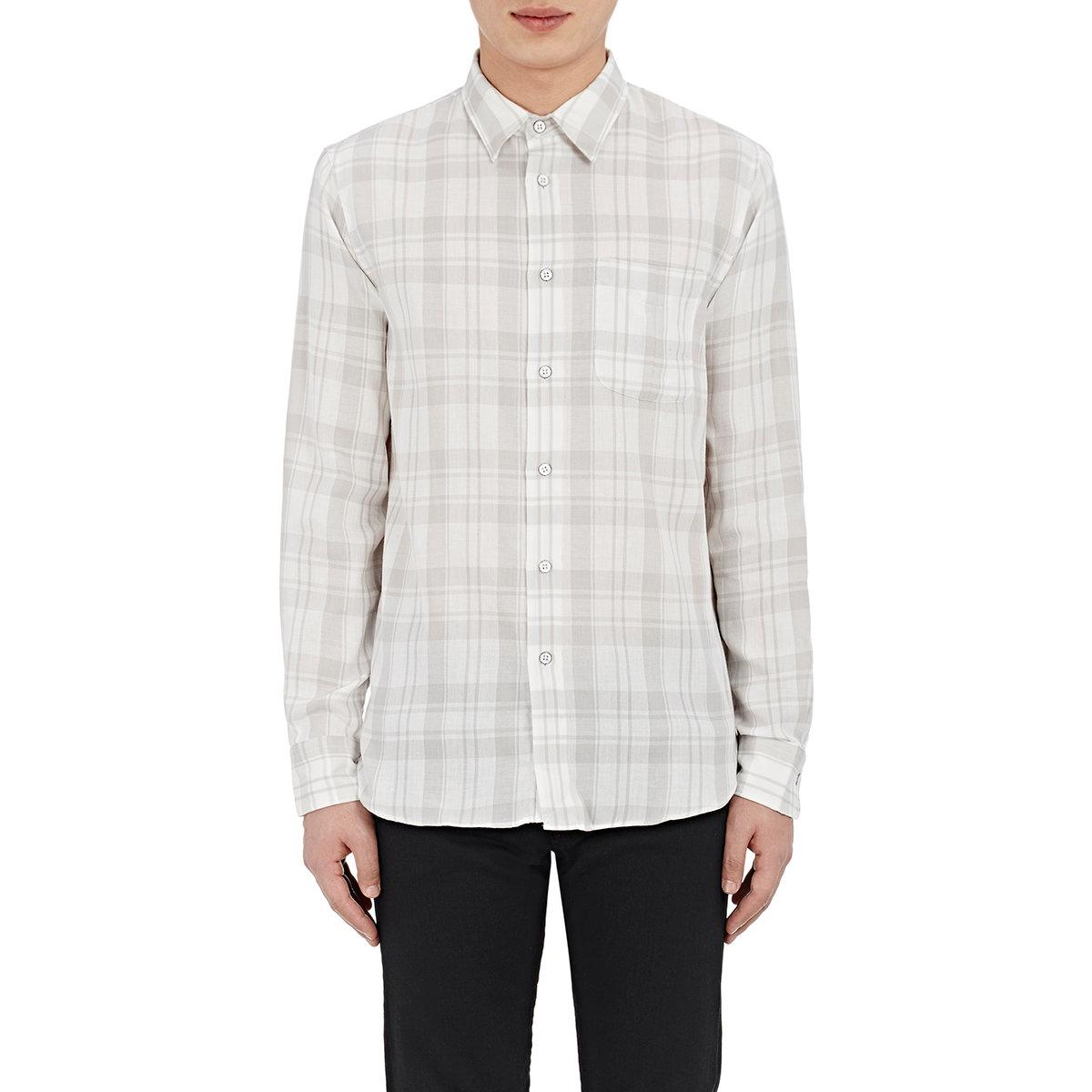 Rag bone plaid yokohama shirt in gray for men lyst for Rag bone shirt