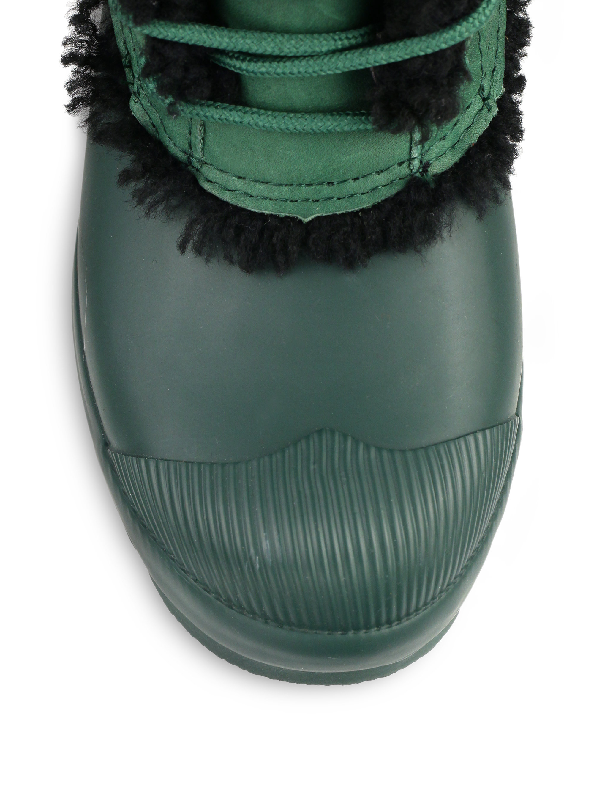 Hunter Mid-Calf Shearling-Lined Rubber Rain Boots In Green