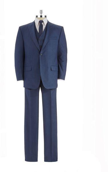 Sean john modern fit threepiece suit in blue for men lyst