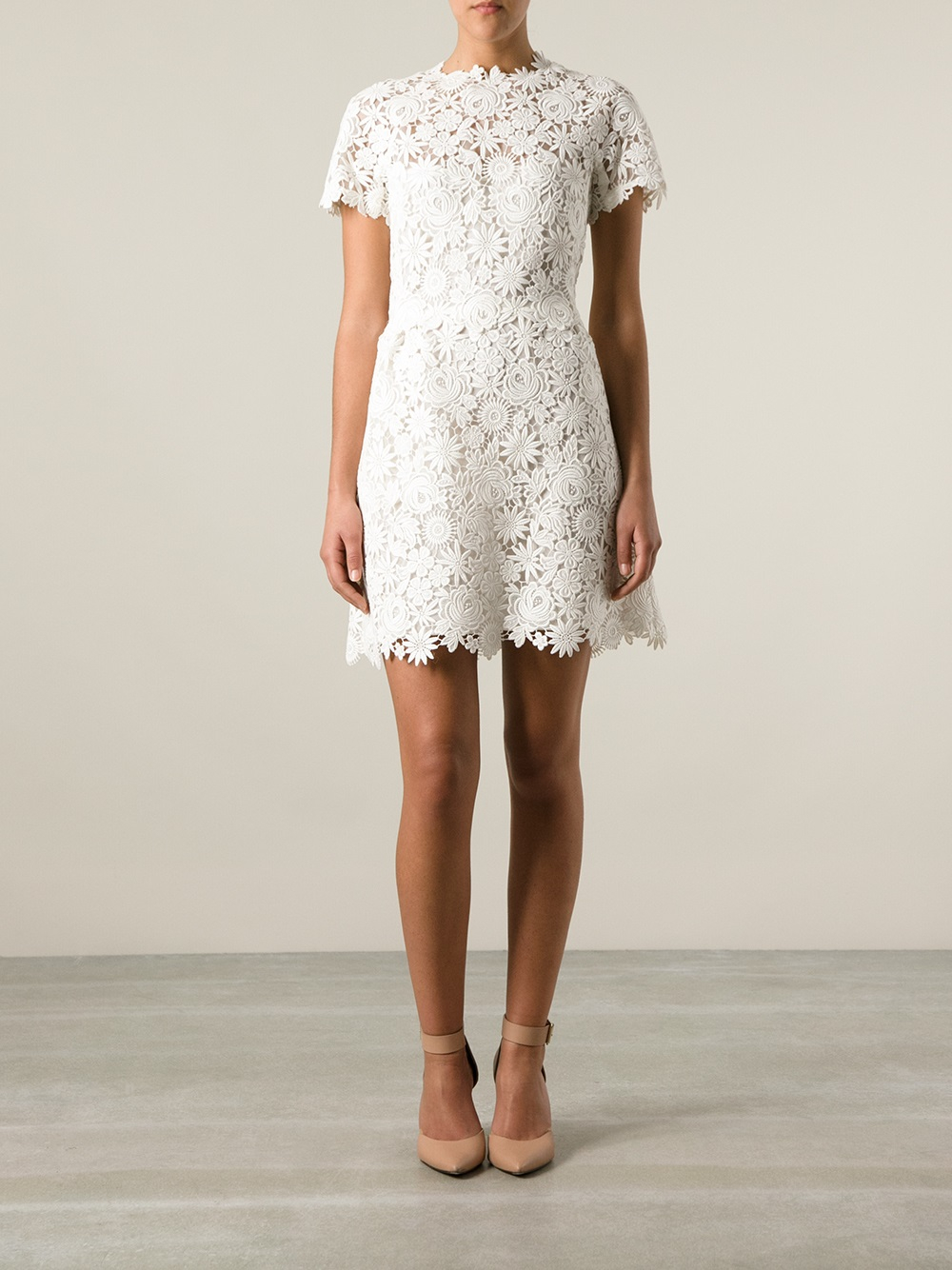 Valentino Lace Dress In White Lyst