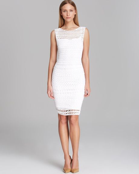 Calvin Klein Dress Sleeveless Open Crochet in White