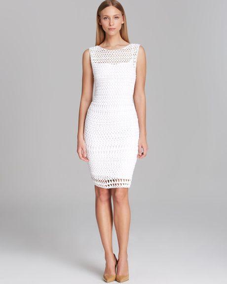 Calvin Klein Dress Sleeveless Open Crochet in White