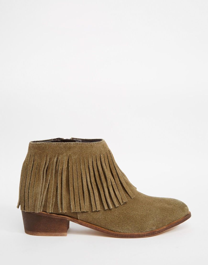 Asos Aroots Suede Western Fringe Ankle Boots in Brown | Lyst
