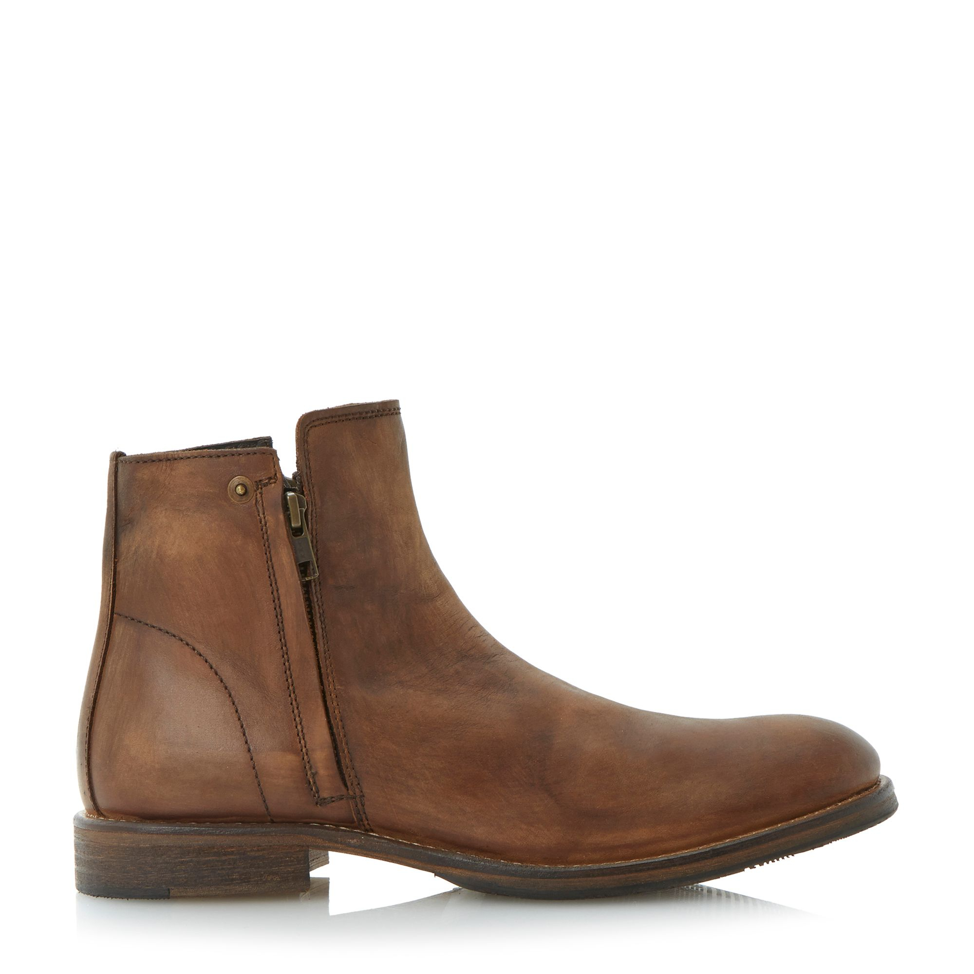 bertie cus doublezip washed look boots in brown for