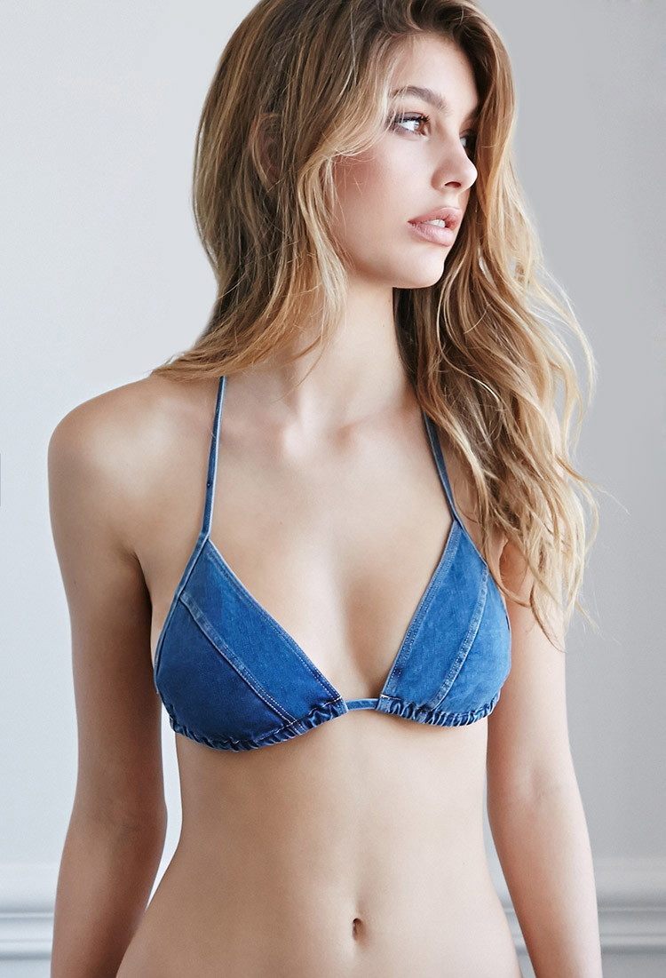 f63423c1e3 Forever 21 Blue Denim Triangle Bikini Top