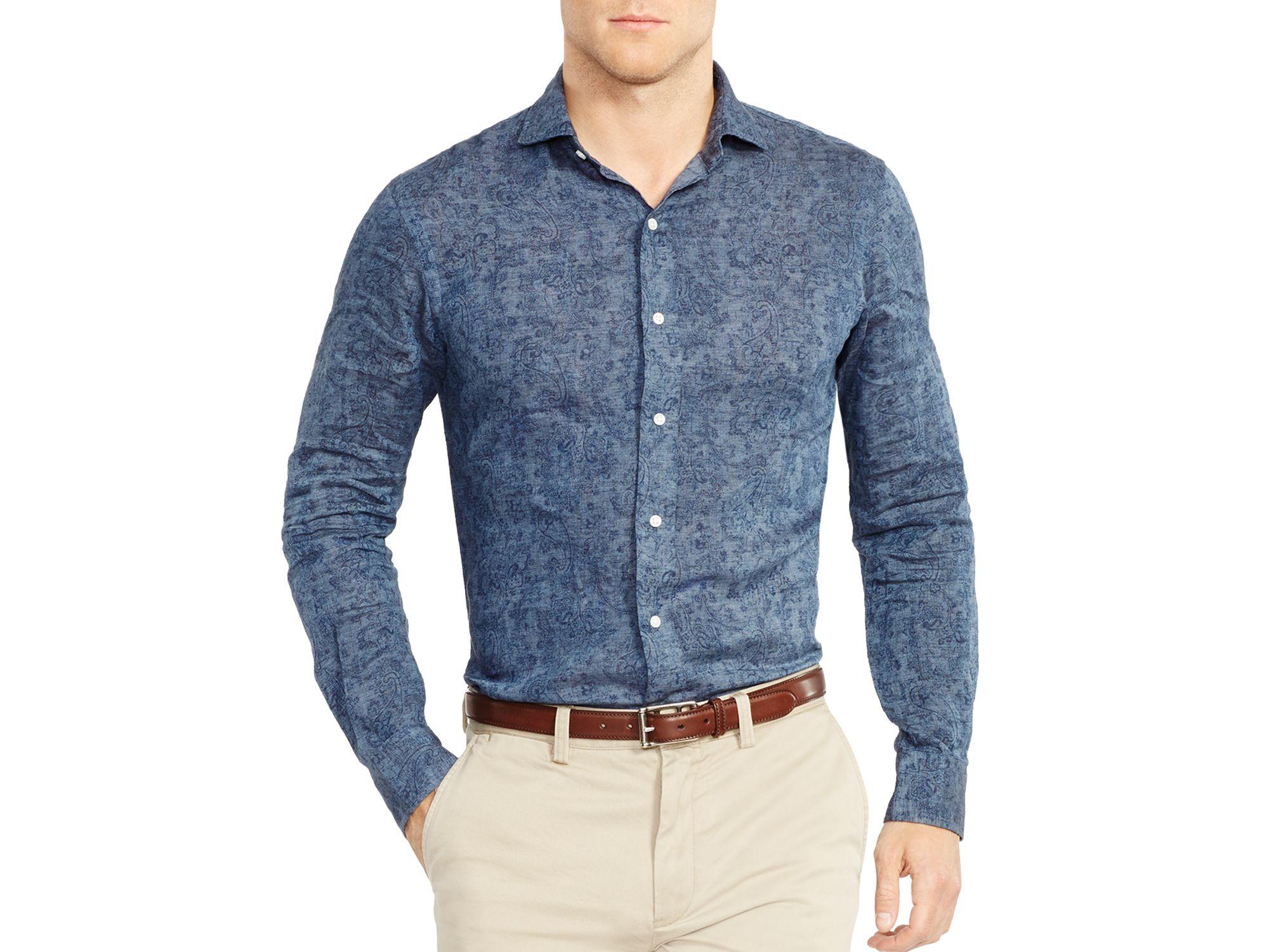 9d4a6f2011 Ralph Lauren Blue Polo Slim-fit Paisley Linen Estate Shirt for men