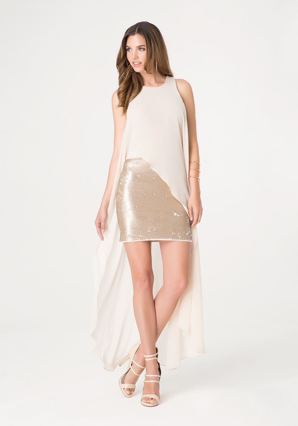 Lyst bebe chiffon overlay dress in natural gallery ombrellifo Choice Image