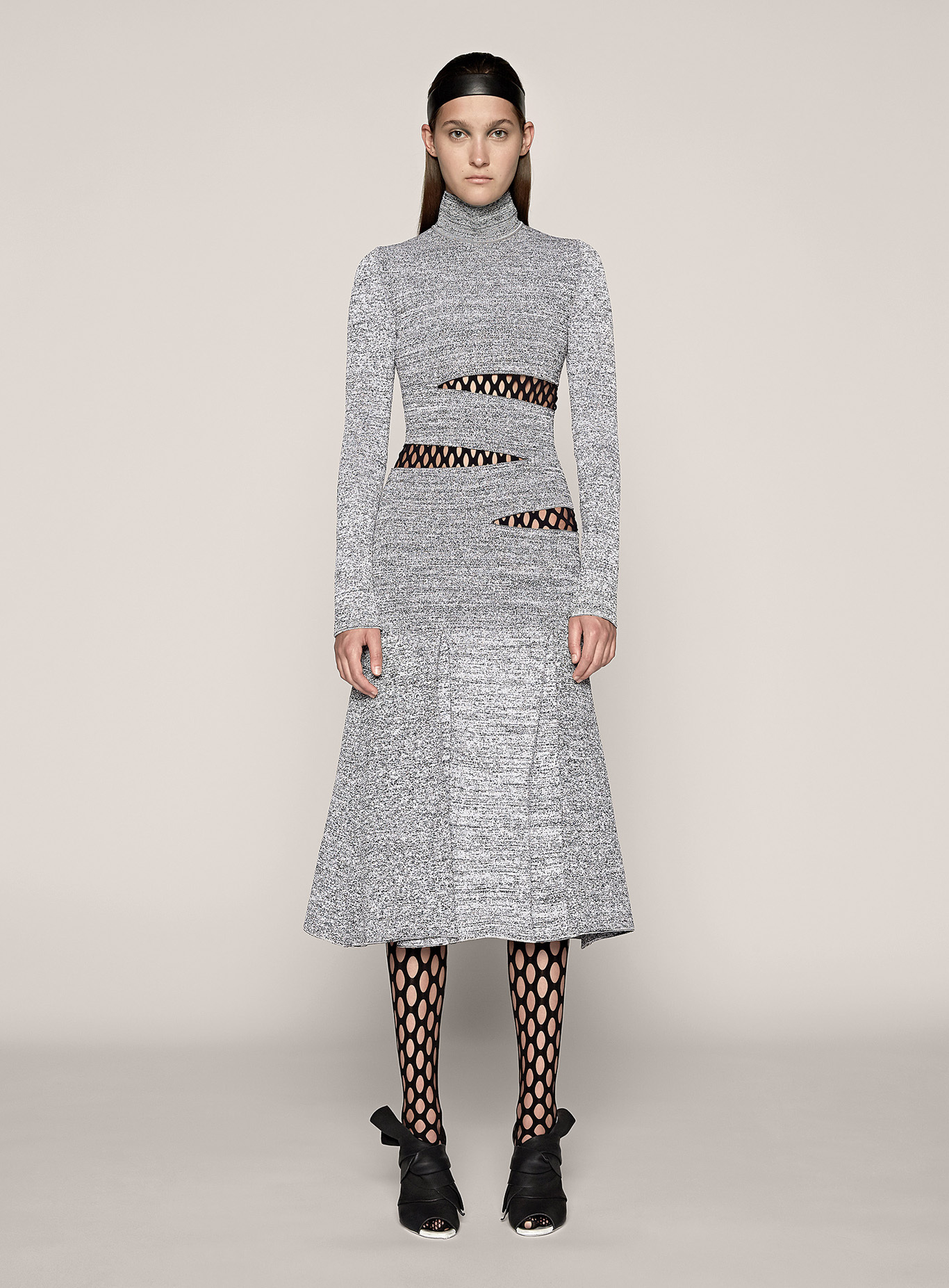 Knitting Pattern Turtleneck Dress : Proenza Schouler Turtleneck Knit Dress in Black (White/Black) Lyst