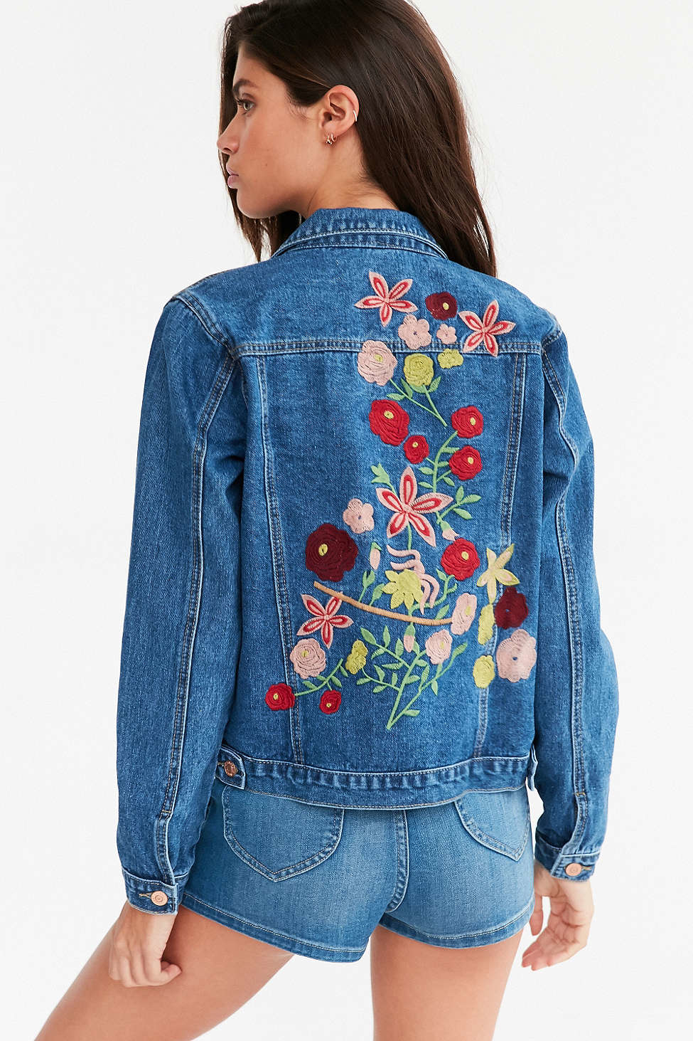 Kimchi Blue Woodstock Embroidered Denim Jacket In Blue | Lyst