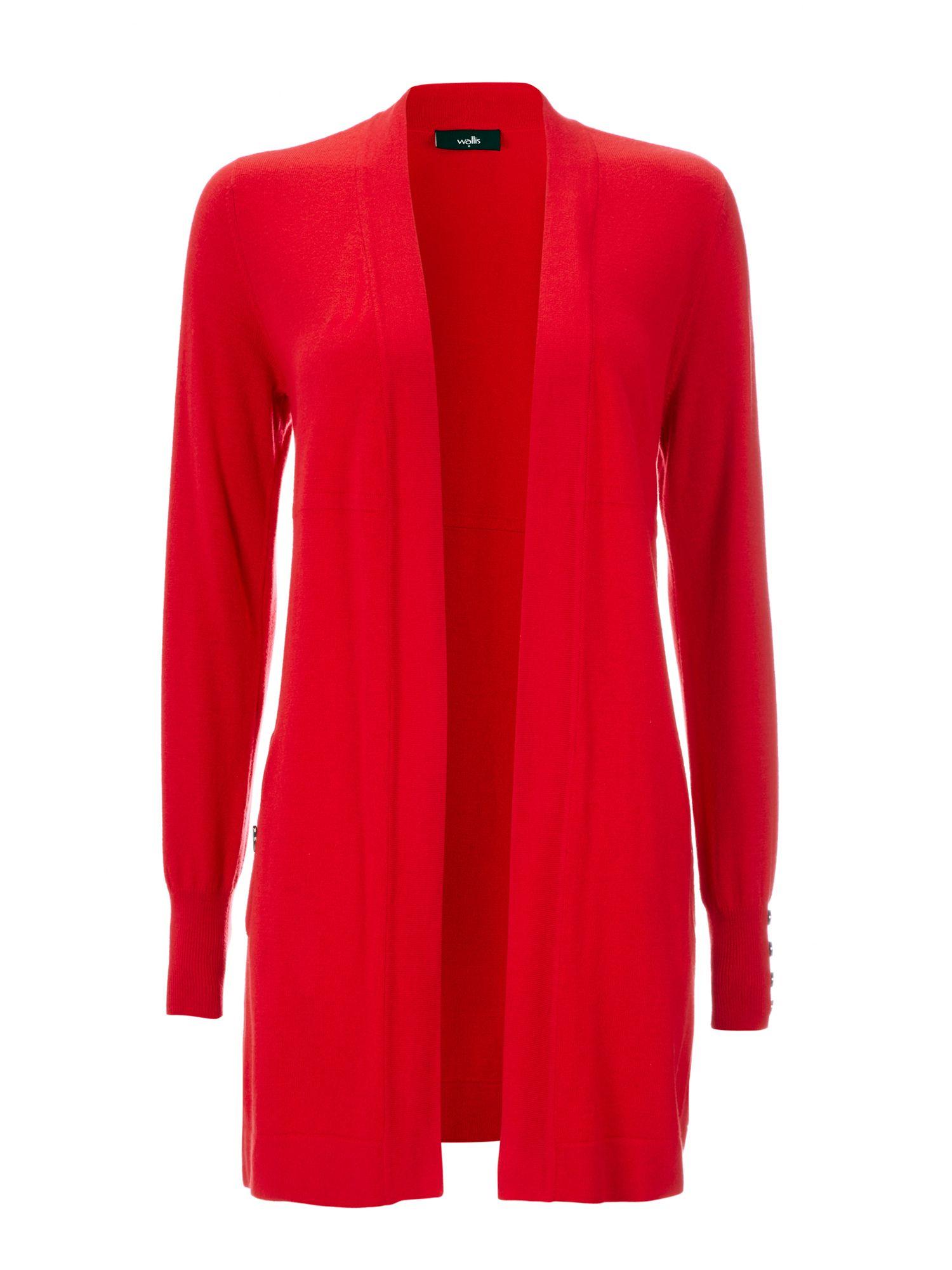 Wallis Button Pocket Cardigan in Red