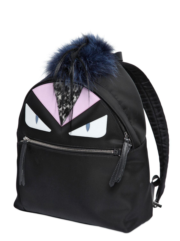 Fendi Monster Nylon Backpack With Fox Fur In Black Lyst
