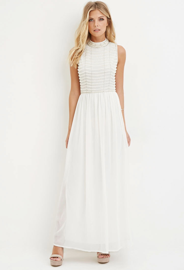 White Chiffon Maxi Dress