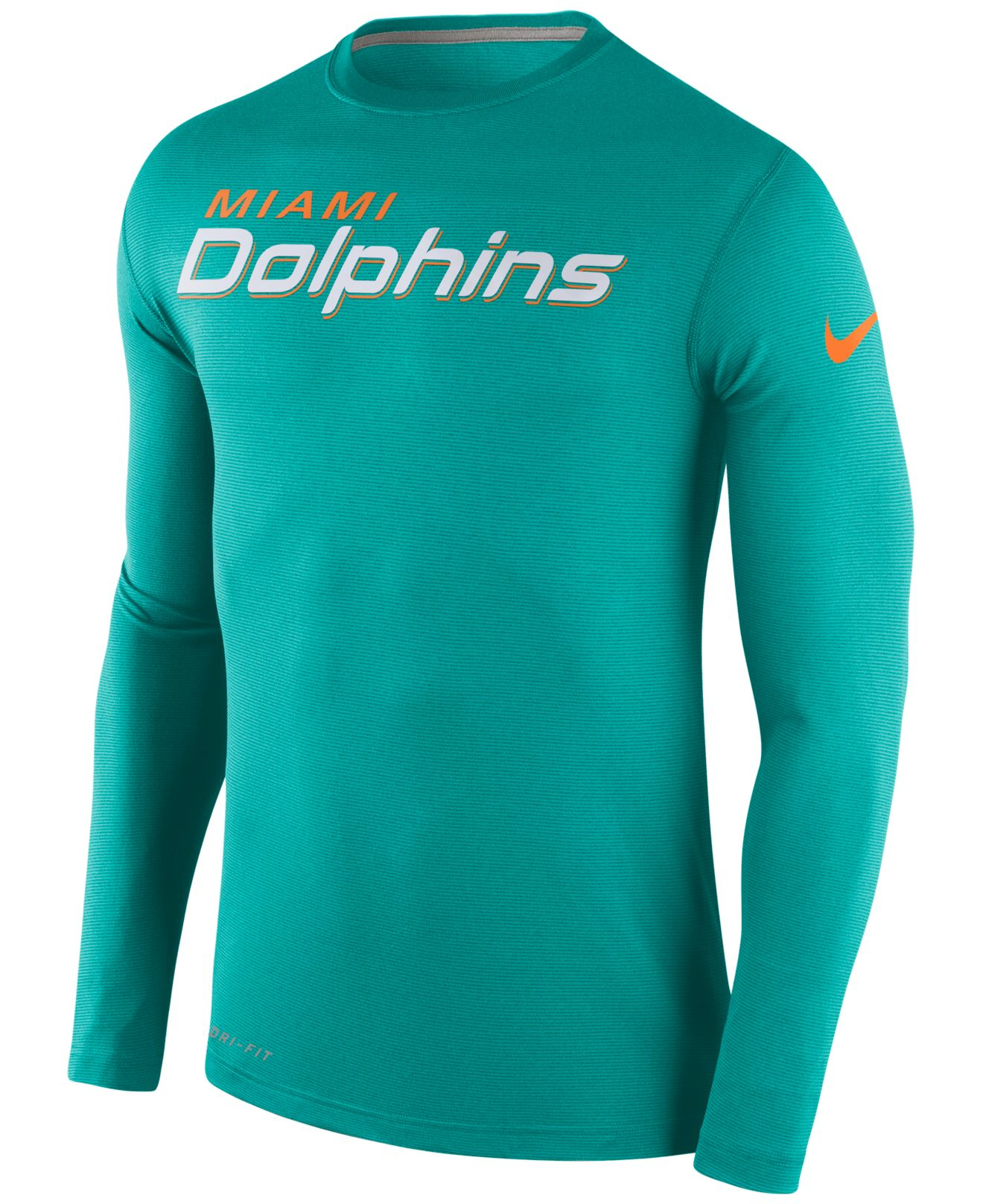 Nike men 39 s long sleeve miami dolphins dri fit touch t for Under armour dri fit long sleeve shirts