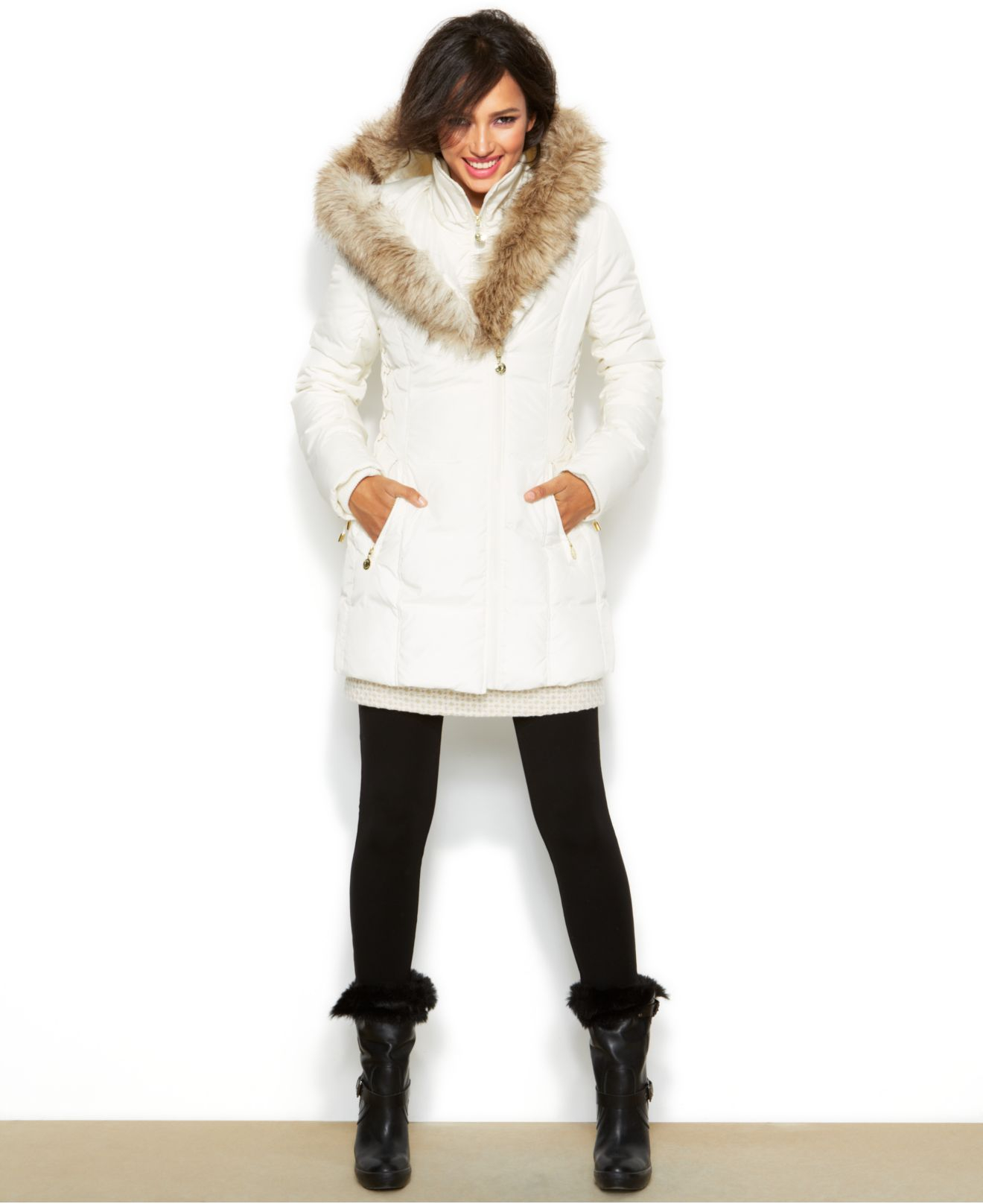 Lyst Betsey Johnson Hooded Lace Up Puffer Coat In White