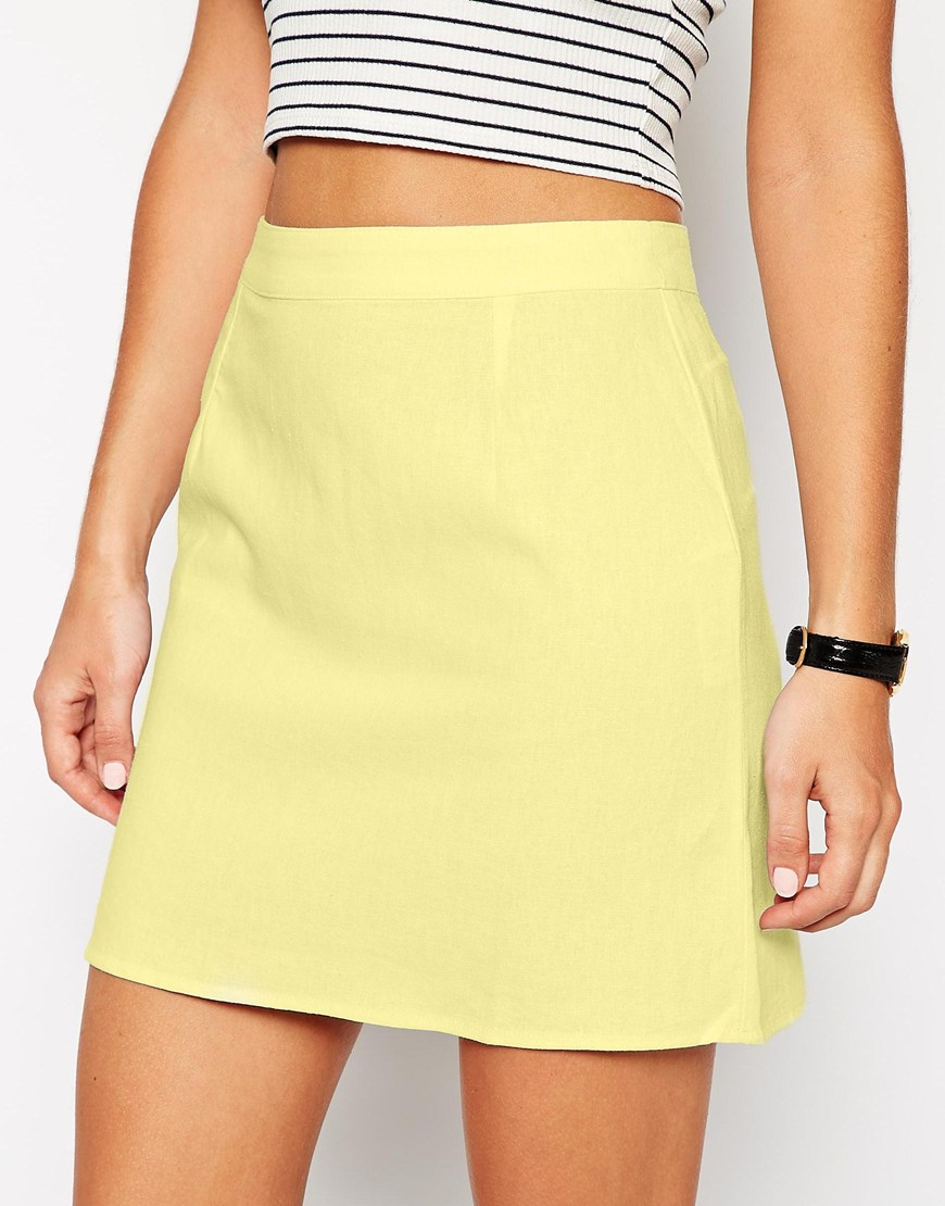 cc90e19f7023 ASOS A-line Linen Mini Skirt in Yellow - Lyst