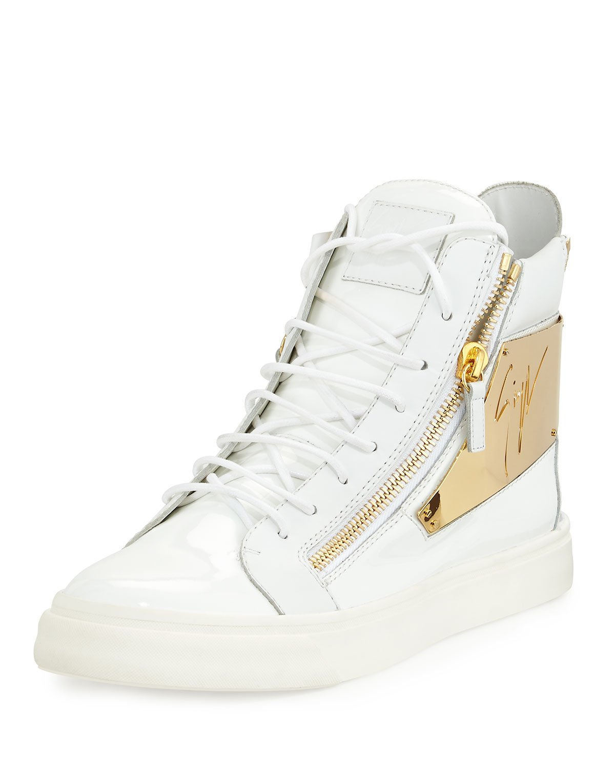 62345a5ab9032 Lyst - Giuseppe Zanotti Men s Patent Logo-plate High-top Sneaker in ...