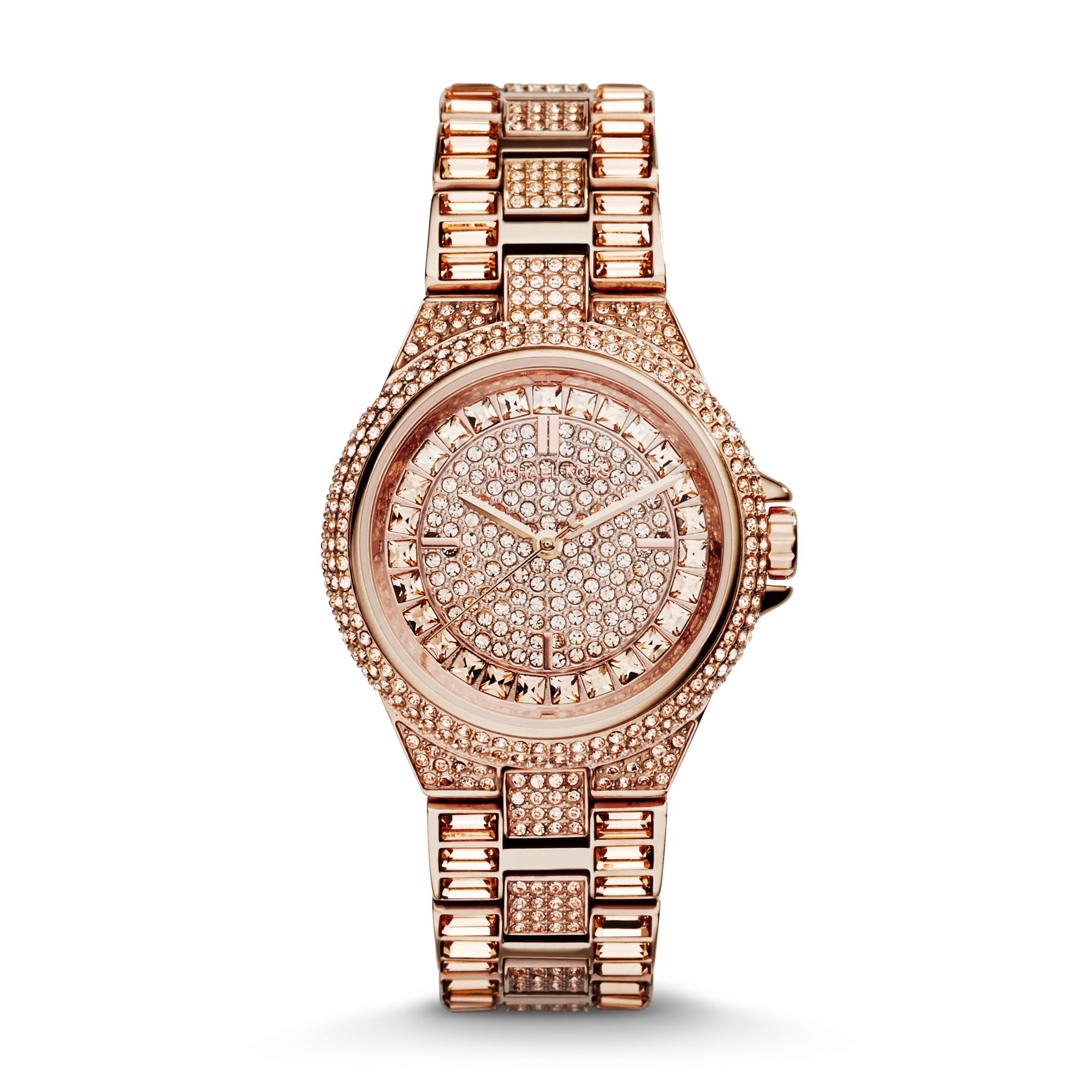 933b4c240a78 Lyst - Michael Kors Mini Camille Rose Gold-tone Watch in Pink