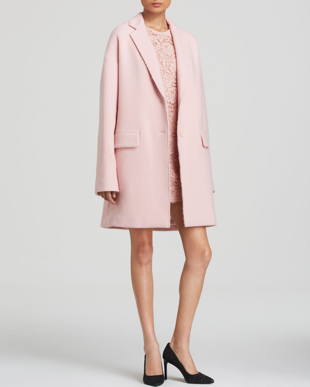 Dkny Wool Blend Coat in Pink | Lyst