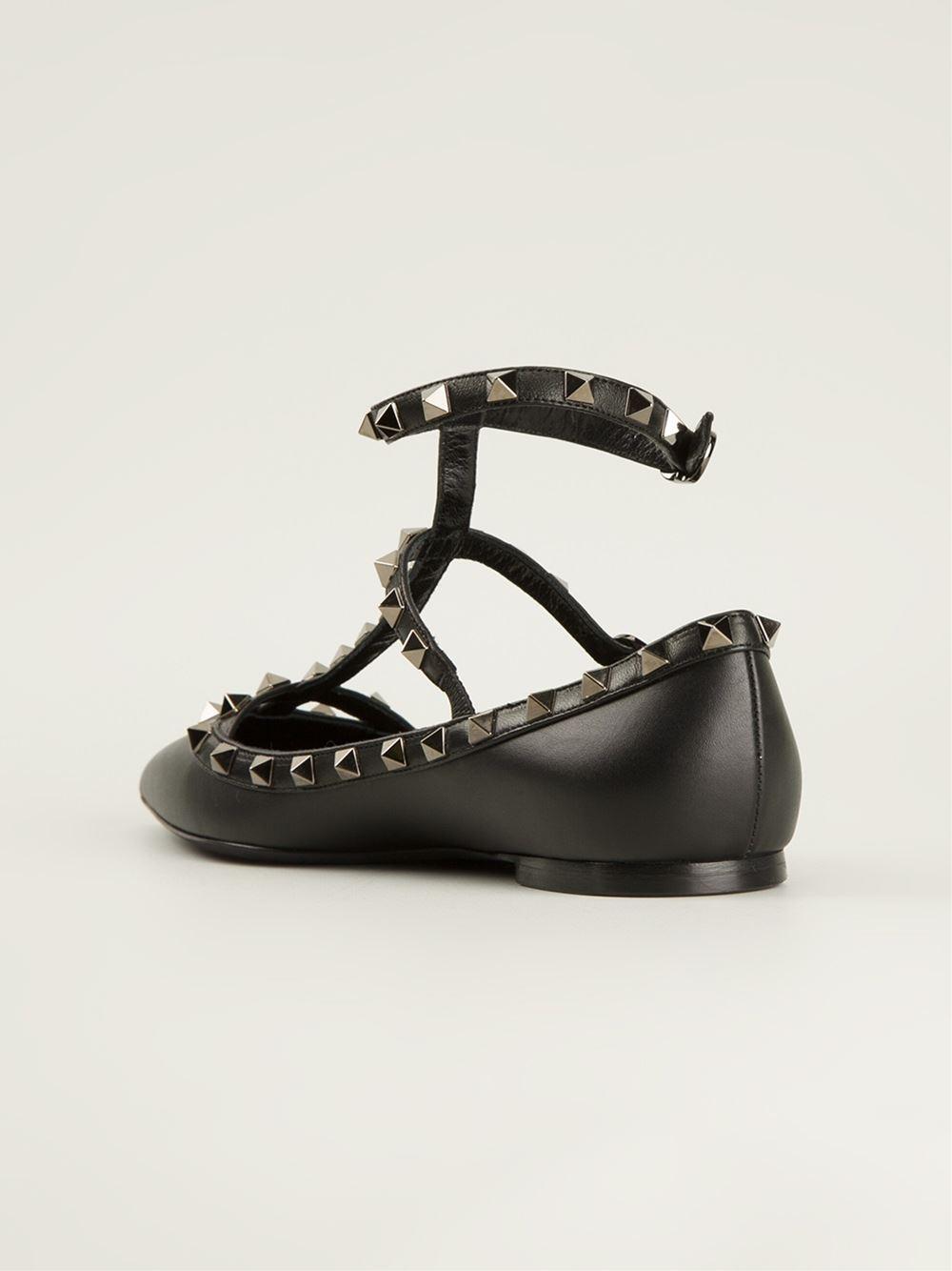 valentino 39 rockstud noir 39 ballerinas in black lyst. Black Bedroom Furniture Sets. Home Design Ideas