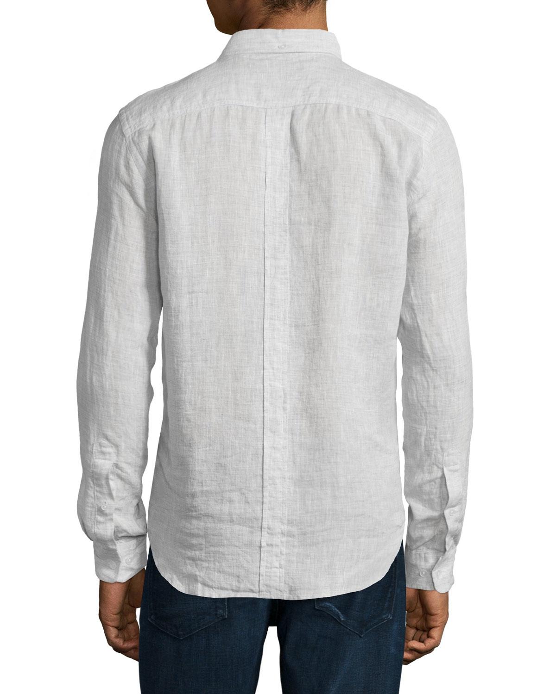 7 For All Mankind Long Sleeve Linen Shirt In White For Men