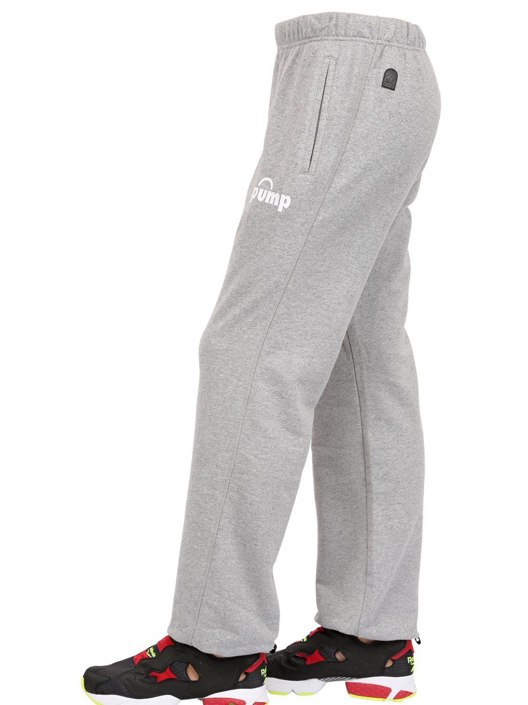 Reebok Cotton Blend Jogging Pants In Grey Gray For Men