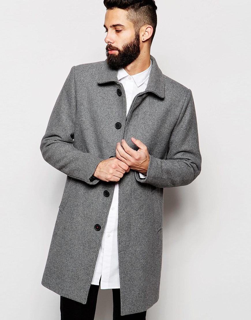 Only & sons Wool Mac in Gray for Men | Lyst