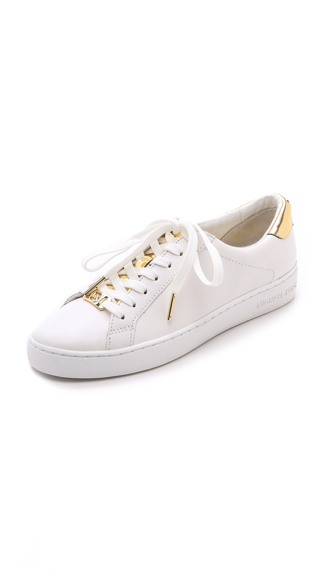 ec47e05a5df MICHAEL Michael Kors Irving Lace Up Sneakers - Optic Pale Gold in ...