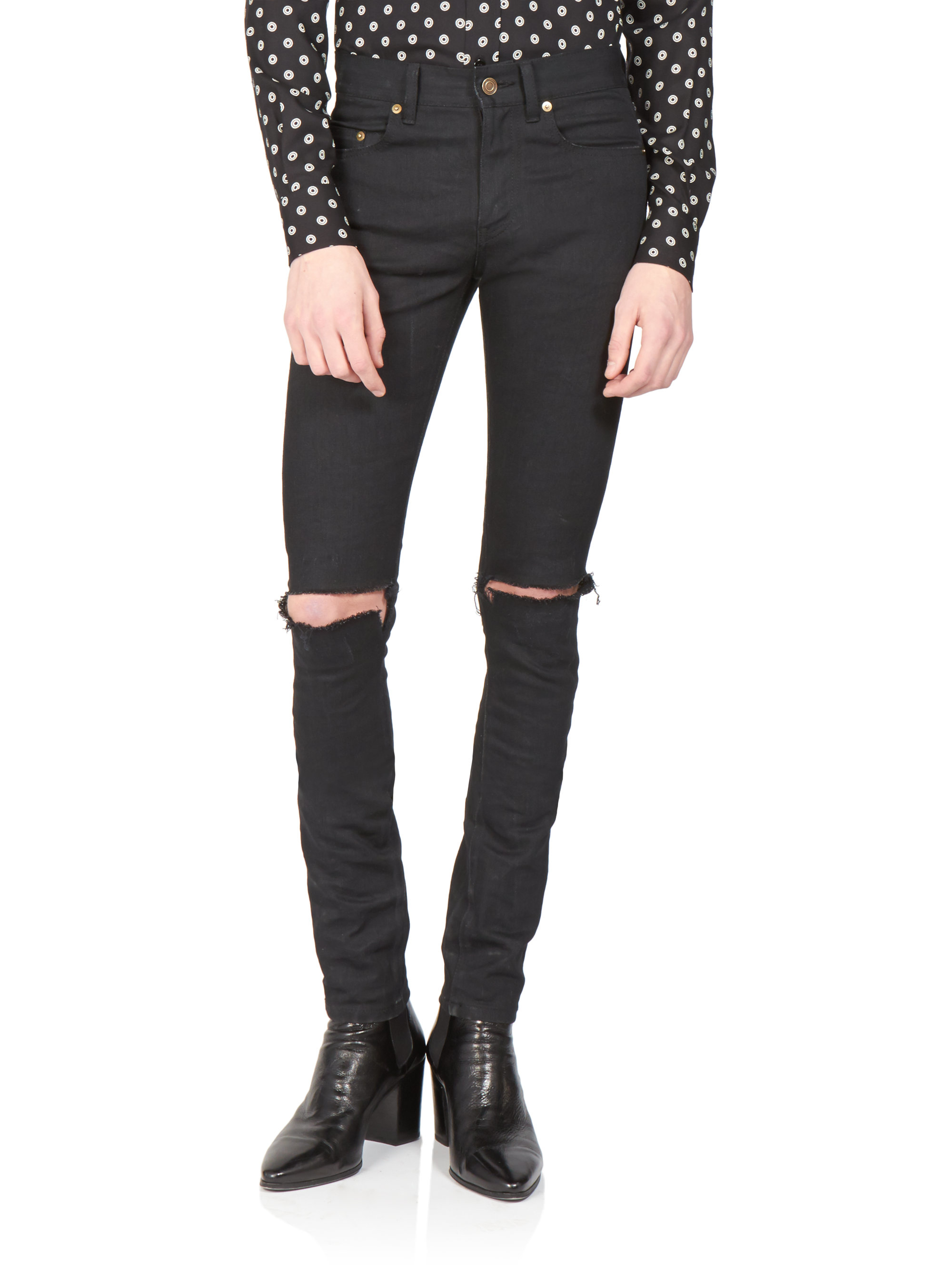 lyst saint laurent skinny distressed jeans in black for men. Black Bedroom Furniture Sets. Home Design Ideas
