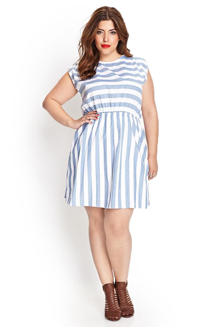 Forever 21 Striped Fit Amp Flare Dress In White Denim Blue